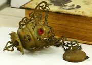 Russian, Lamp For Icon,lampada Orthodox Antique Old Brass, Christianity, Stones