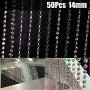 50x Chandeliers Lights Artificial Crystal Droplet Glass Beads Wedding Drops 14mm