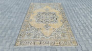 Turkish Oushak Rug Yellow Faded Vintage Floral Handknotted Carpets Home Decor Bo