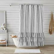 Shower Curtain By Better Homes And Gardens Striped Ruffle New 72 X 72 Bath Tub