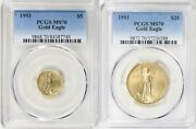 1993 25 And 5 Gold Eagle Pcgs Ms70 2 Coin Set Pop 50 And 71 Coins Low Mintage