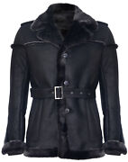 Menand039s Merino Black Snowtip Real Sheepskin Suede Leather Jacket With Tie Belt