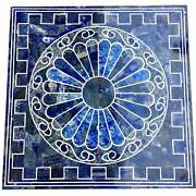 24and039and039 Blue Lapis Marble Table Top Coffee Center Dining Inlay Home Decor Antique