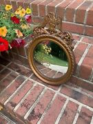 Vintage Nurre Concave Circular Mirror W/eagle And Braided Detail