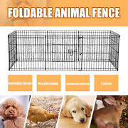 24 Dog Playpen Crate 8 Panel Fence Pet Play Pen Exercise Puppy Kennel Cage