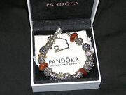 Pandora Sterling Silver Bracelet .925 Ale Filled With 19 Authentic Charms 7.9