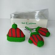 Vintage 1994 Department 56 Winter Warm Ups Hat And Mittens Christmas Ornaments Nib