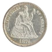 1876 P Seated Liberty Dime Au Almost Uncirculated Ac257