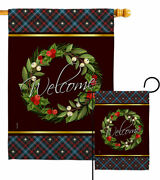 Christmas Berry Wreath Garden Flag Sweet Home Expression Decorative House Banner