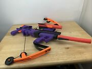 Nerf Big Bad Bow Purple And Orange With 3 Rockets / Arrows Vintage 2001