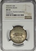 1834 Ht-10a Silvered Running Boar Ngc Ms 64 Uncirculated Hard Times Token