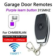 Purple Learn Button Garage Door Opener Remote Replacement For Liftmaster 315mhz