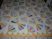 Antique 1940's Fan Quilt Scalloped 81 X 91 Beautiful Needs Repaired Or Cutter