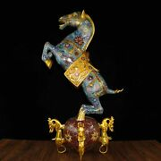 29and039and039 Bronze Gold Cloisonne Enamel Home Feng Shui Auspicious Beast Fortune Horse
