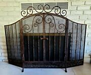 Antique Wrought Iron Fireplace Screen 3 Panels W/ Hinge Doors And Latch Rare