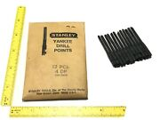 """Vtg Stanley Yankee Push Drill Points 12pc Nos 7/64"""" Bits No 4 Dp Rare New Scarce"""