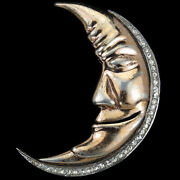 Nettie Rosenstein Sterling Gold And Pave Smiling Man In The Moon Pin