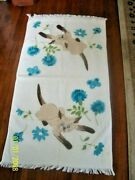 Vintage Siamese Cat Bath Towel-green Turquoise, Browns  Never Used