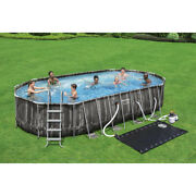 Bestway Power Steel 22andrsquox12andrsquox48andrsquoandrsquo Oval Pool Set W/pump Ladder Solar Heater