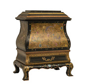 Chinoiserie Hand Painted Small Wooden And Metal Storage Chest