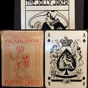 Antique Playing Cards Gladiator High Grade Condensed Poker Deck 52+ Joker And Box