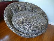 Huge Round Leopard Tub Lounge Chair On Casters Vintage Mid Century Modern Bed