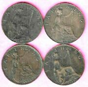 1918 To 1932 George V Farthings X 4 Coins British Fine To Nvf Grades Ref Cc
