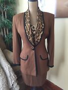 Vtg 90s Cache Brown Leopard Print Skirt Suit And Tank Top Small