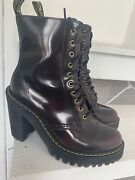 Dr Martens Kendra Heeled Leather Boots - Womenand039s 7 [38] 170.00 Cherry Red