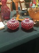 Cranberry Glass Opalescent Glass Fenton Hobnail Bubble Candle Holders