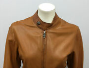 100 Auth Chrome Hearts Leather Jacket Womens Cognac/brown Sterling Acc Size M