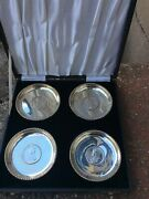 Beautiful Set 4 Indian Silver One Rupee Coin Dishes Coasters 2 X 1918,1919,1906