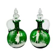 Antique Hand Painted Mary Gregory Green Glass Cruet Set Applied Handles 10.5