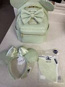 Loungefly Disney Mint Green Mini Backpack New In Hand With Ears And Xl Mask