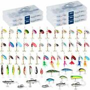 60 Fishing Lures Kit With 5 Tackle Boxes Spinner Baits Soft Plastic Swimbait