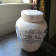 French White/blue Tobacco Pottery Jar/lid 18th C Hand Made Reenactment Replica