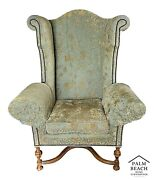 Huge Lee Jofa Victoria And William Wingback Damask Library Throne Chair