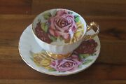 Aynsley Three 3 Large Pink Cabbage Roses Red Pink Yellow Tea Cup Teacup Saucer