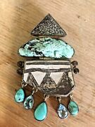 Starborn Sterling Pin Pendant Turquoise Blue Topaz Lizard Pottery