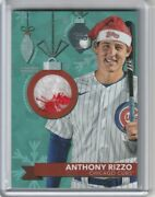 Anthony Rizzo 2020 Topps Holiday Metallic Silver Worn Santa Hat Patch 09/10