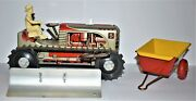 Sparkling Climbing Tractor Set, 1950 Louis Marx 5, Tractor W/ Plow, Wagon Mint
