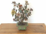 Chinese Jade Peony Tree Large In Cloisonne Jardiniere C 1890 49 Cm H