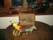1897 Antique Boxed Lehmann Comical Clown Balky Mule Tinplate Germany Tin Toy