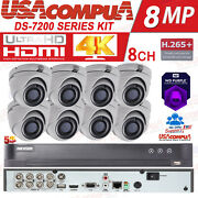 Hikvision 8ch Security System 4k-uhd Cctv Kit Exir 20m Vandal Proof Hdd Included