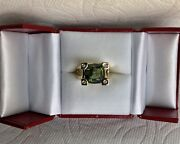 Vintage Green Tourmaline Antique Cushion Cut Ring In 14k Yellow Gold And Diamonds