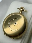 Nice Antique 14k Gold Diamond Crescent Moon And Stars Pocket Watch Case Size 0