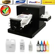 Flatbed Dtg Multicolor Printer A4 T-shirt Clothes Printing Machine+ Ink Set New