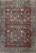 Antique Overdyed Floral Oriental Traditional Area Rug Hand-knotted Wool 9x12 Ft