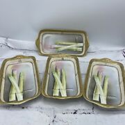 1920s Nippon Porcelain Hand-painted Plates With Asparagus Bone Dish