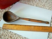 Vintage Hand Carved Wood Ladle Scoop Spoon Treenware Free Shipping